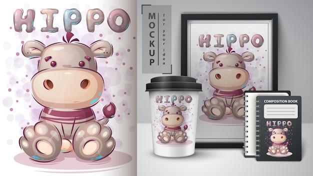 Lindo cartel de hipopótamo de peluche y merchandising.