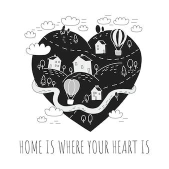 Lindo cartel con un pueblo. el hogar está donde está tu corazón.