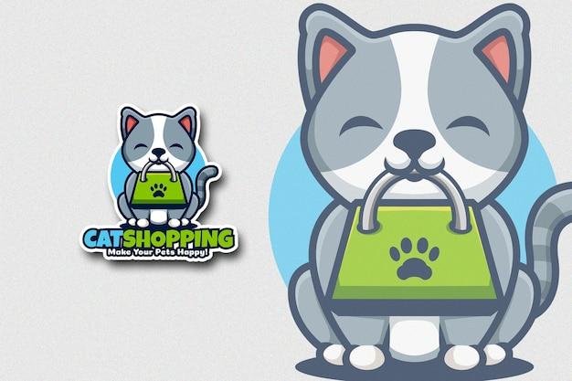 Lindo cartón de gato que tiene bolsa de compras en la boca