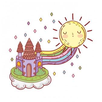Lindo castillo de cuento de hadas con arco iris y sol kawaii