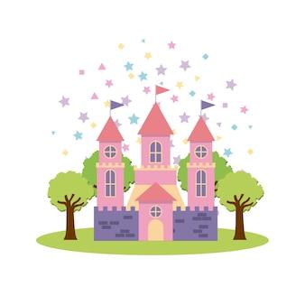 Lindo castillo de fantasía rosa