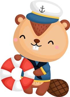Un lindo castor con un disfraz de marinero.