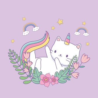 Lindo caticorn con decoración floral