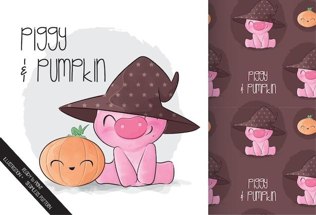 Lindo cerdito con calabaza feliz halloween con patrones sin fisuras