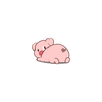 Lindo cerdo acostado y mirando hacia atrás