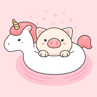 Lindo cerdo en un anillo de vida de unicornio