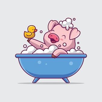 Lindo cerdo bañándose en la bañera ilustración de dibujos animados