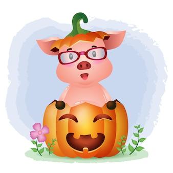 Un lindo cerdo en la calabaza de halloween.