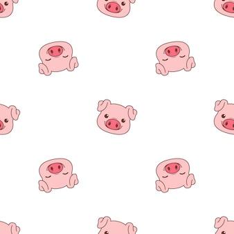 Lindo cerdo cara de dibujos animados de patrones sin fisuras