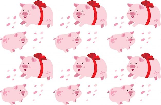 Lindo cerdo sin costura patrón
