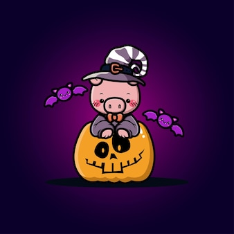 Lindo cerdo con dibujos animados de calabaza de halloween
