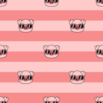 Lindo cerdo con gafas de sol de dibujos animados de patrones sin fisuras