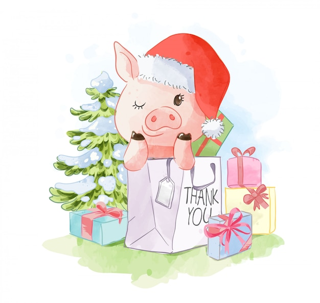 Lindo cerdo en la ilustración de la bolsa de compras