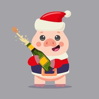 Lindo cerdo en traje de santa claus con explosión de botella de champán personaje de dibujos animados de navidad en el fondo.
