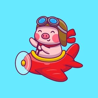 Lindo cerdo volando con ilustración de dibujos animados de avión. concepto de icono de animales y transporte