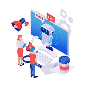 Lindo chatbot saludando a personas icono isométrico con computadora y varios objetos 3d