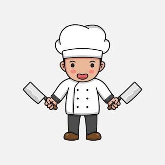 Lindo chef con cuchillos de carnicero