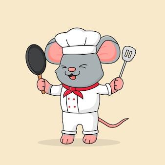 Lindo chef mouse con espátula y sartén