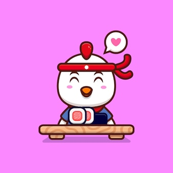 Lindo chef pollo hacer sushi rollo dibujos animados icono ilustración
