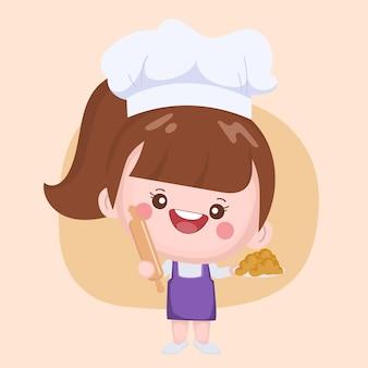 Lindo chef presentando panadería
