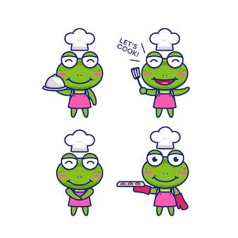 Lindo chibi rana chef personaje de dibujos animados mascota vector ilustración conjunto