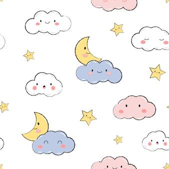 Lindo cielo estrellas nubes pastel dibujos animados doodle de patrones sin fisuras