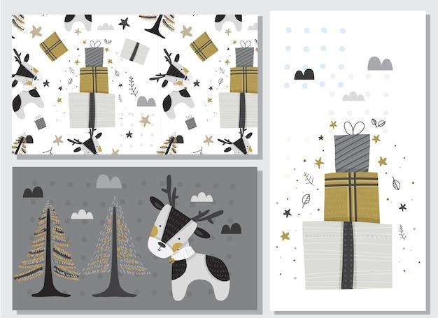 Lindo ciervo animal plano feliz diciembre estilo geométrico