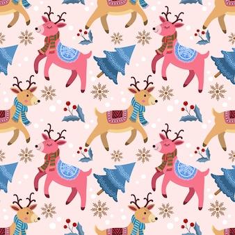 Lindo ciervo con árbol de navidad en invierno de patrones sin fisuras.