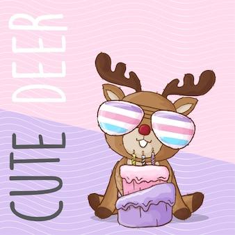 Lindo ciervo bebé con arco iris gafas mano dibujado animal