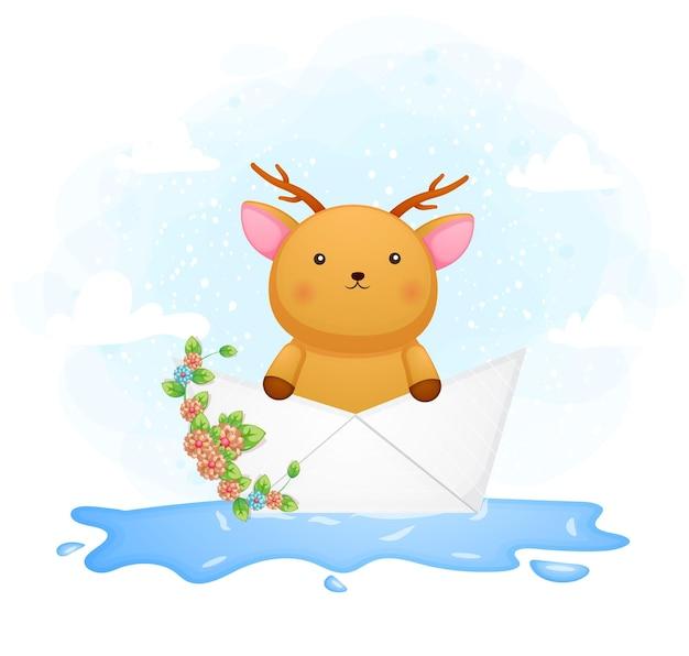 Lindo ciervo bebé doodle dentro del barco de papel
