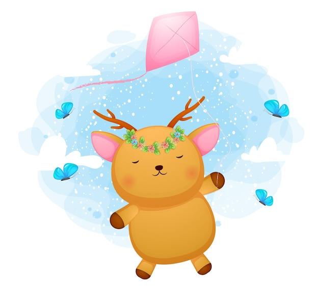 Lindo ciervo bebé doodle volando con cometas