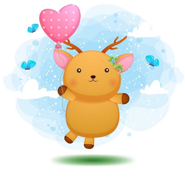 Lindo ciervo bebé doodle volando con globo rosa