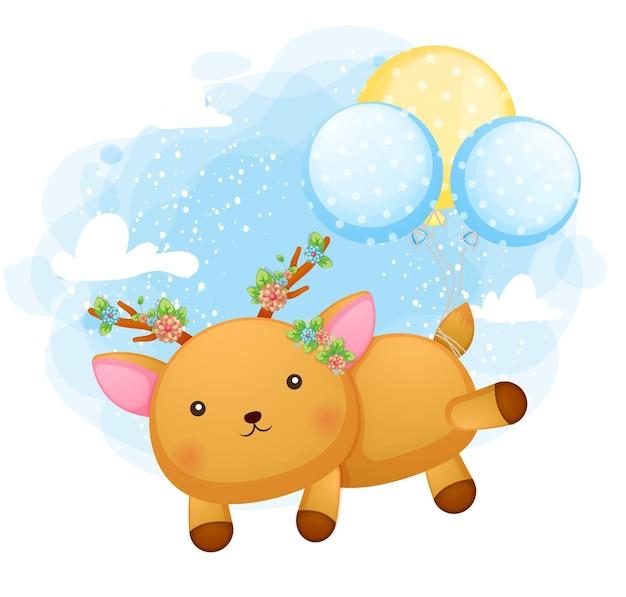 Lindo ciervo bebé doodle volando con globo
