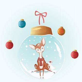 Lindo ciervo en un bulbo de navidad