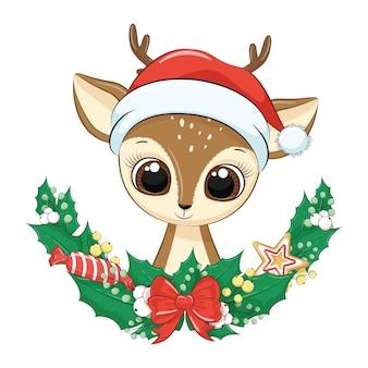 Lindo ciervo con corona de navidad.