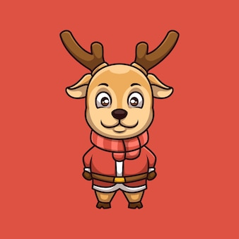 Lindo ciervo creativo logotipo de mascota de dibujos animados de navidad