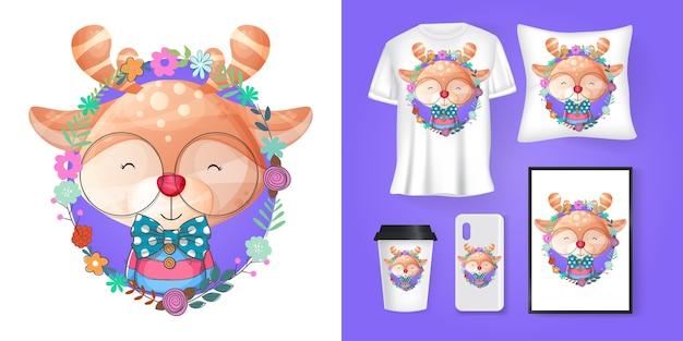 Lindo ciervo con dibujos animados de flores y merchandising