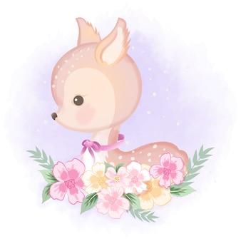 Lindo ciervo con flores dibujadas a mano ilustración en púrpura