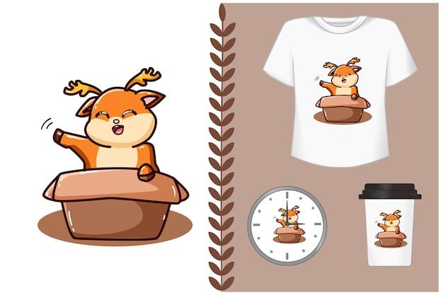 Lindo ciervo en la ilustración de dibujos animados de caja