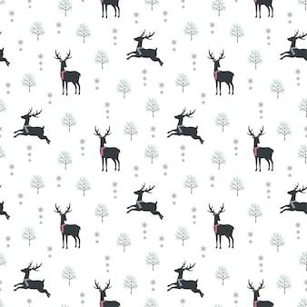 Lindo ciervo en invierno nieve de patrones sin fisuras