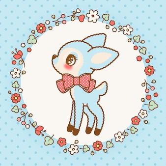 Lindo ciervo kawaii azul con marco de flores