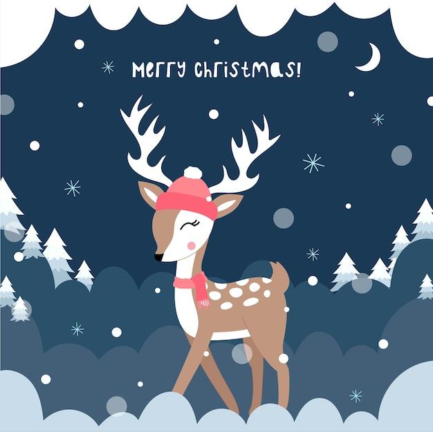 Lindo ciervo de navidad. ilustración infantil de vector. cartel, postal, ropa.