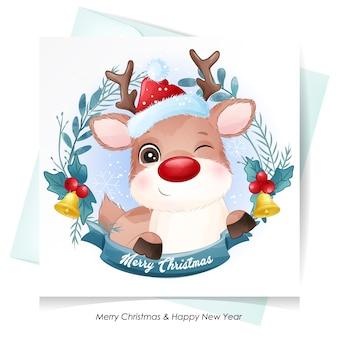 Lindo ciervo para navidad con tarjeta de acuarela