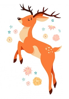 Lindo ciervo saltando de dibujos animados con elementos florales.
