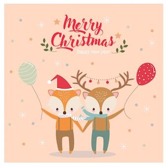 Lindo ciervo y zorro en tarjeta de felicitación de navidad