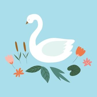 Lindo cisne blanco con nenúfares flores cañas ilustración de vector aislado sobre fondo azul