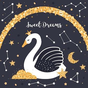 Lindo cisne en el cielo nocturno