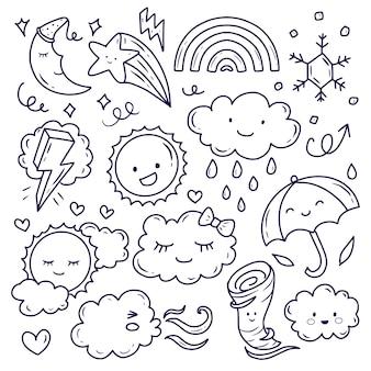 Lindo clima y nube doodle dibujo arte lineal