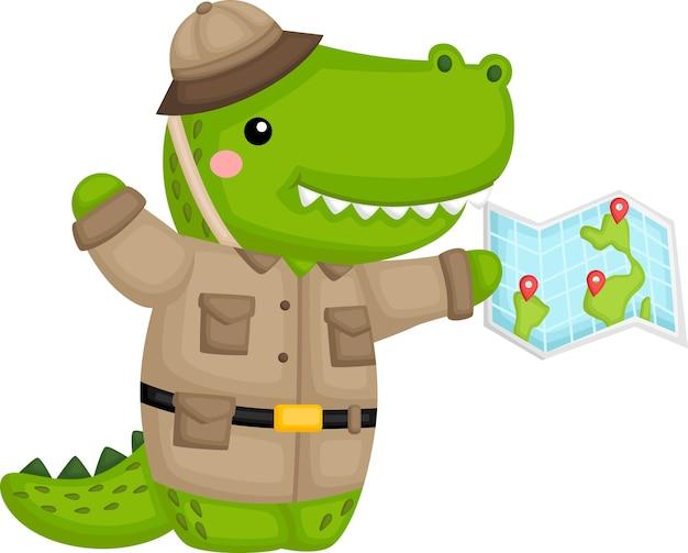Un lindo cocodrilo disfrazado de guardabosques de safari