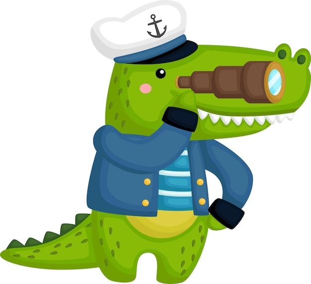 Un lindo cocodrilo con un traje de marinero.